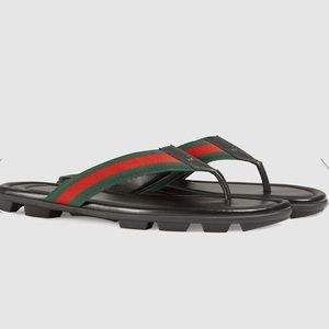 Gucci Web and Leather Thong Sandal 7 women